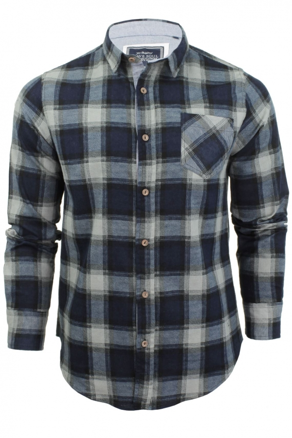 Mens Long Sleeved Brushed Check Shirt by Brave Soul